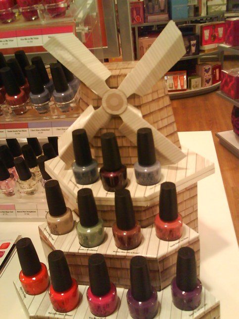 Paper Windmill display of OPI's Holland Collection